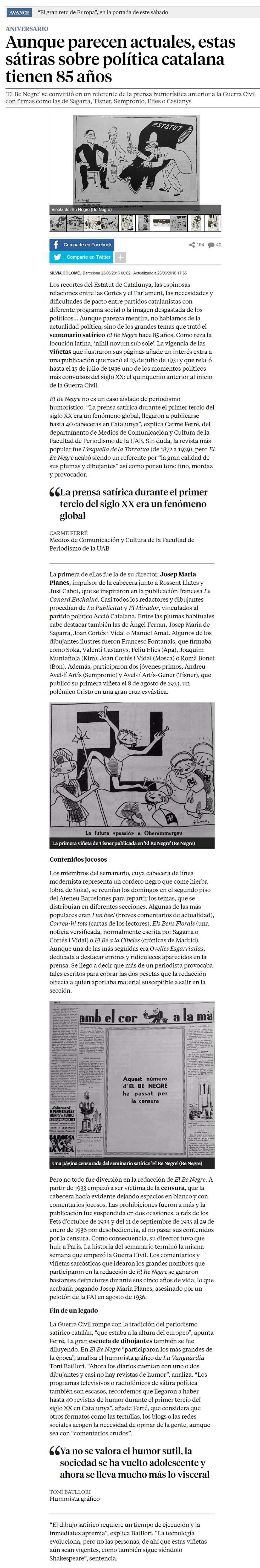 semanario satírico El Be Negre-Tinta[A]Diario