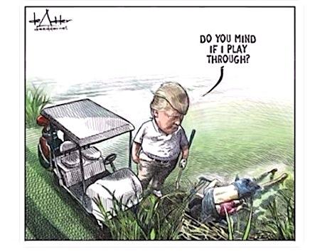 El dibujante canadiense de humor político Michael de Adder